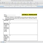 Animal Research worksheet