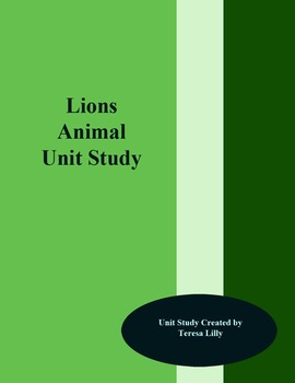 Animal Unit Study: Lions k-3 and lapbook