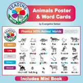 Animal Words Poster (11 x 17) and Word Cards for Decoding Vowels