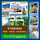 Animals and Habitats (Mats, Cards, Vocabulary)