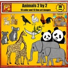 Animals 2 by 2 Clip Art Set