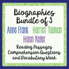 "Anne Frank, Helen Keller, Harriet Tubman - Bundle ""Life an"