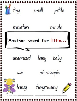 Another word for... Posters/Word Wall Synonyms - insect th