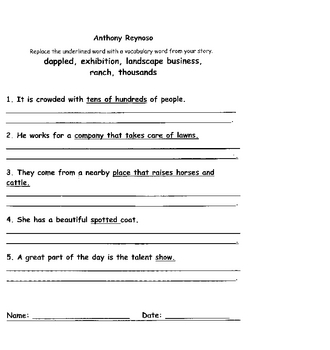 Anthony Reynoso worksheets