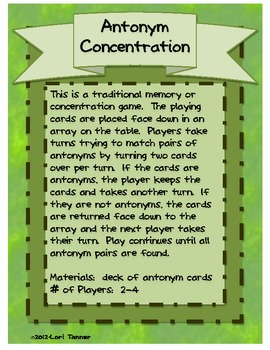 Antonym Concentration Game