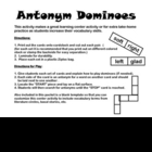 Antonym Dominoes Literacy Center Activity- Includes 3 sets