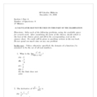 AP Calculus Midterm 2006