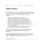 Apollo 13 Mission Research Report (includes assessment rubric)