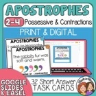 Apostrophes Task Cards: 32 Sentence Cards for Contractions