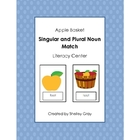 "Apple Basket ""Singular and Plural Noun Match"" Literacy Center"
