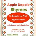 Apple Dapple Rhymes Printables for Reading Lessons K, 1st,