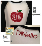 Apple Monogram Baseball Shirt {Adult LARGE} With Name