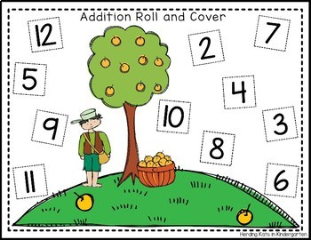 Apple Roll & Cover Addition & Subtraction Games!