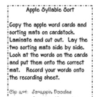 Apple Word Syllable Sort