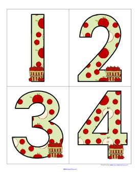 Apples Theme - Set of Large Numbers 0-20 - FREE