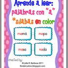 Aprende a leer: palabras con a -silabas en color