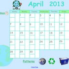 April 2013 Calendar for Smartboard