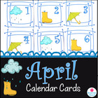 April Calendar Cards {rain boot cloud umbrella} {Morning M