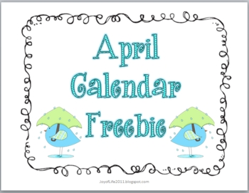 April Calendar and Patterning Cards Freebie