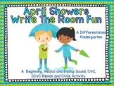 April Showers Write the Room Fun -Word Work Aligned and Di