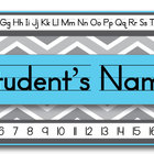 Aqua Chevron Editable Student Name Tags