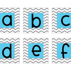 Aqua Chevron Letter Cards (Word Wall)