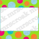 Labels: Lime & Hot pink polka dots, 10 per page