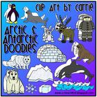 Arctic Antarctic Habitat Doodles digital clip art (BW and