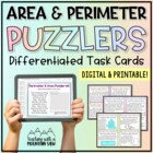 Area & Perimeter Word Problem Task Cards for Enrichment &