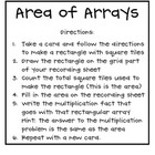 Area and Arrays Multiplication Task Cards (3.MD.6&7)