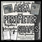 Area and Perimeter of Regular and Irregular Shapes Math Journals
