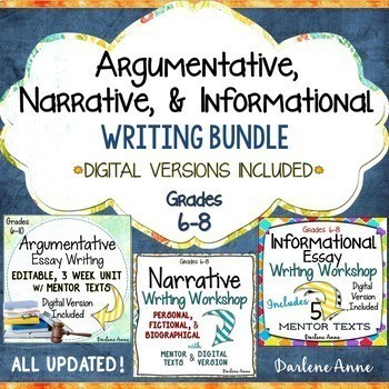 Argumentative, Narrative, and Informational Writing Workshop Bundle {CCSS}