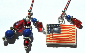 Art Inspired Beaded Bookmark: Jasper Johns Three Flags