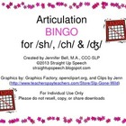 Articulation BINGO for /sh/, /ch/ & /ʤ/