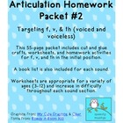 Articulation Homework Packet #2 f, v, th