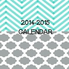 Artsy Teacher Cafe -- NEW! 2014-2015 Calendar Chevron-Quatrefoil