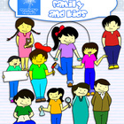 Asian look family and kids clip art
