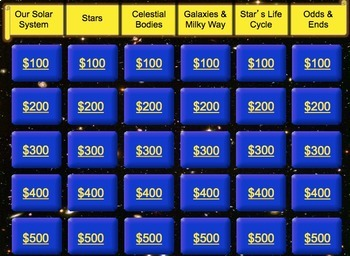 Astronomy and Space Science Jeopardy Powerpoint Game