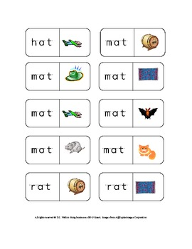 """At"" Sight Words Dominoes: Reading Center for Kindergarten"