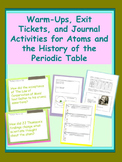 Atomic Theory  - Warm Ups, Exit Tickets, and Journal Activities