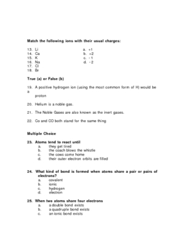 Atoms, Ions, Isotopes, etc. Test Items