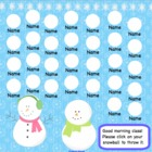 Attendance January  Winter Interactive Smartboard Morning