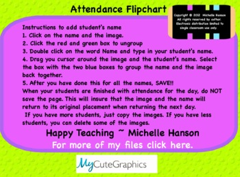 Attendance Monkey Interactive Flipchart for Promethean Board