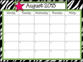 Typeable Calendar: ZEBRA Themed, August 2013-July2014