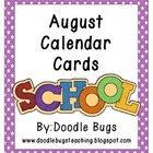 August * Back to School Calendar Cards * FREE *