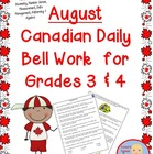 August Bell Work for Grade 3 and 4