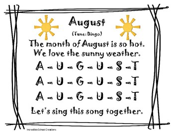 August Calendar Journal Song