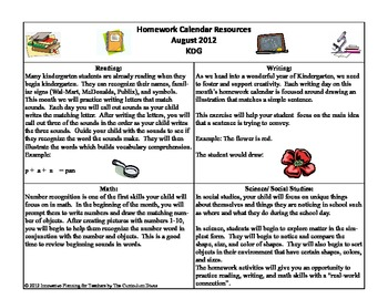 August KDG Homework Calendar Publisher Version