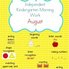 August Kindergarten Morning Work
