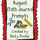 August Math Journal Prompts- Kindergarten C.C.